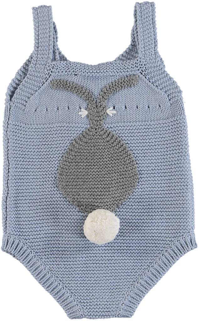 Bunny All in One Knit Romper Blue