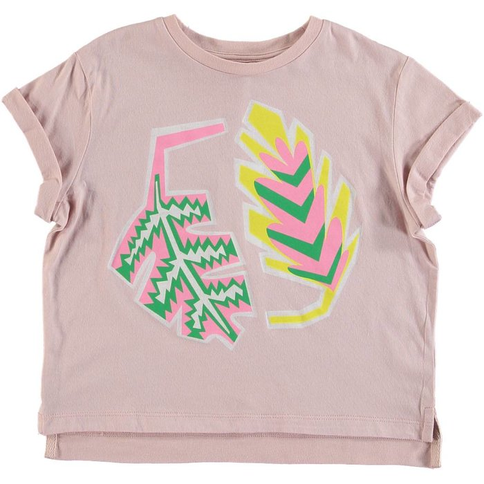 Palm Leaf Short Sleeve Tee Pink