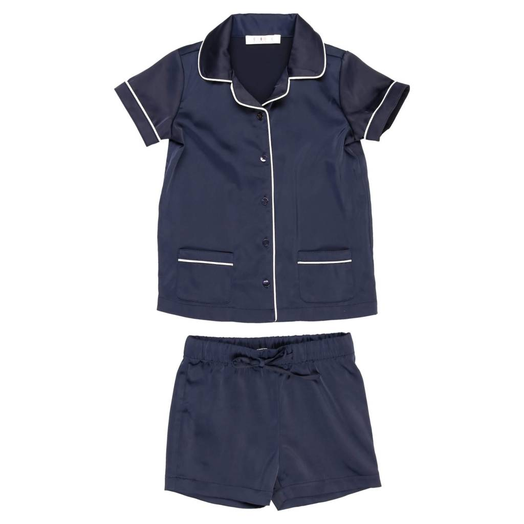 Silky Grandpa Short Set Navy/white