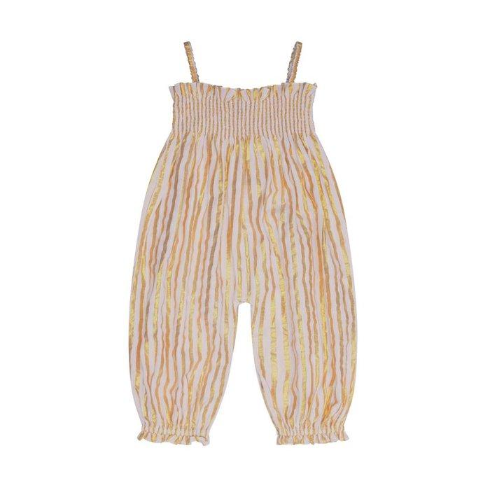 Citrine Embroidered Smock Jumpsuit Milk Gold Stripe