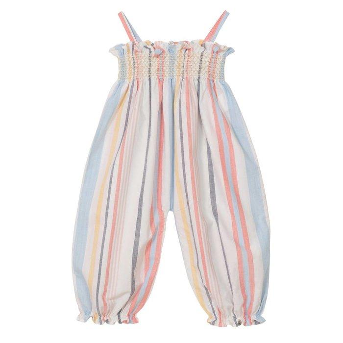 Citrine Embroidered Smock Jumpsuit Multi Stripe
