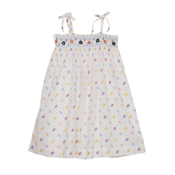 Eden Tie Shoulder Smocked Embroidered Dress Multi Paisley