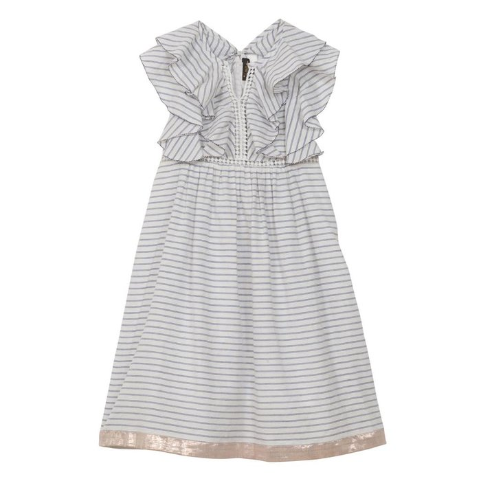 Abigail Frill Sleeve and Lace Dress Blue Stripe