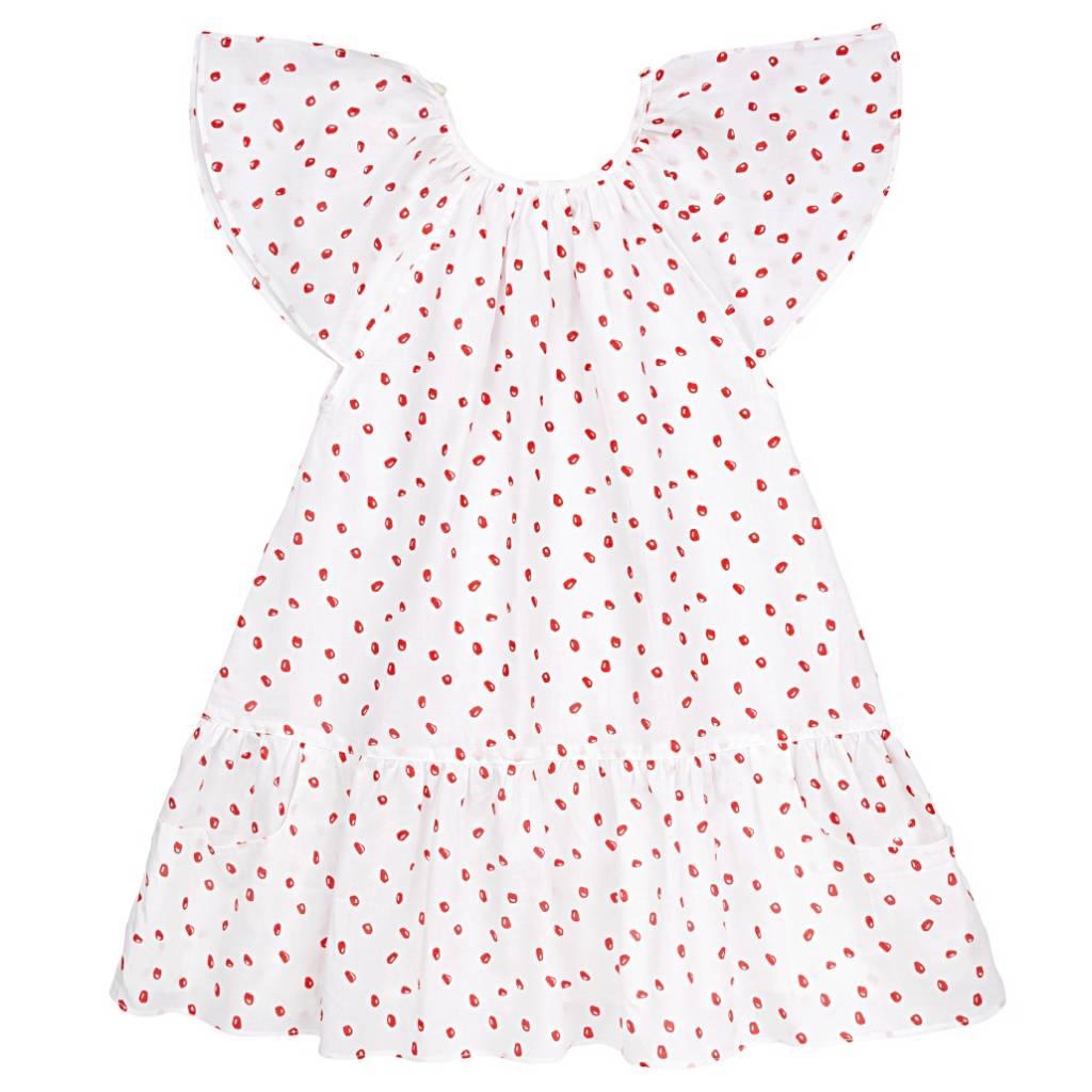 Carmensita Dress White/Pomegranate/Pink