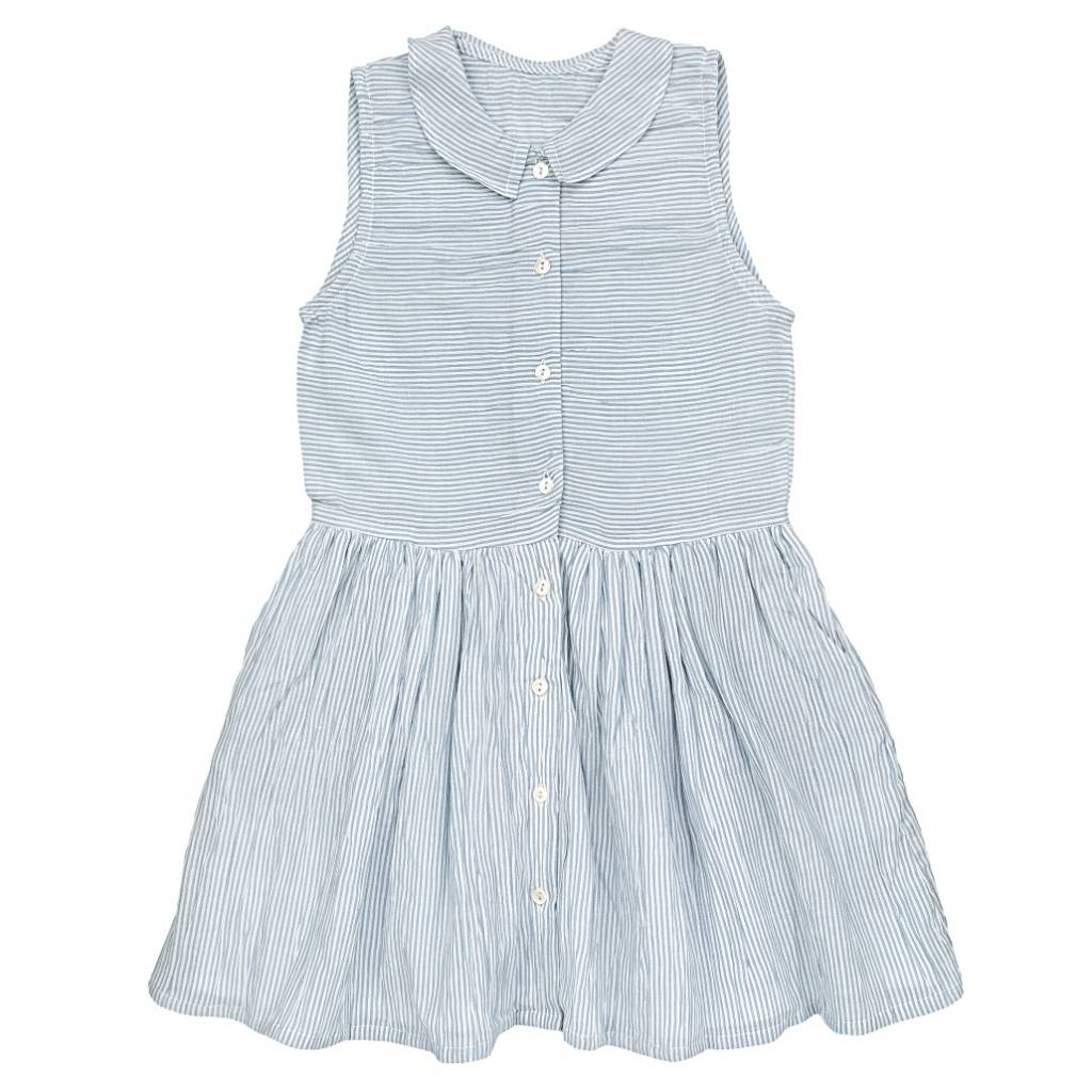 Audrey Dress Stripes/Sky Blue