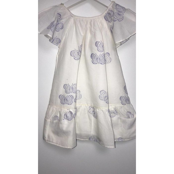 Carmensita Dress White/Butterfly