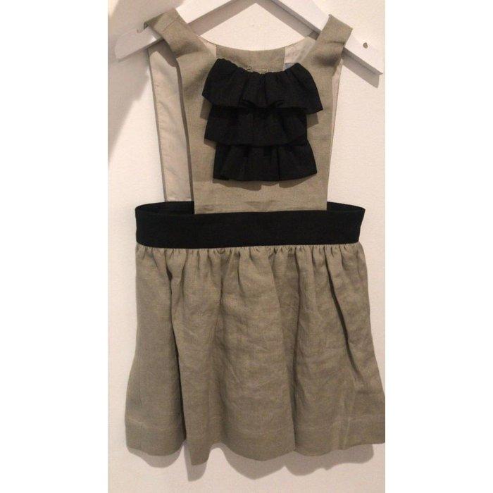 Frill Dress Sand/Black Ruffle