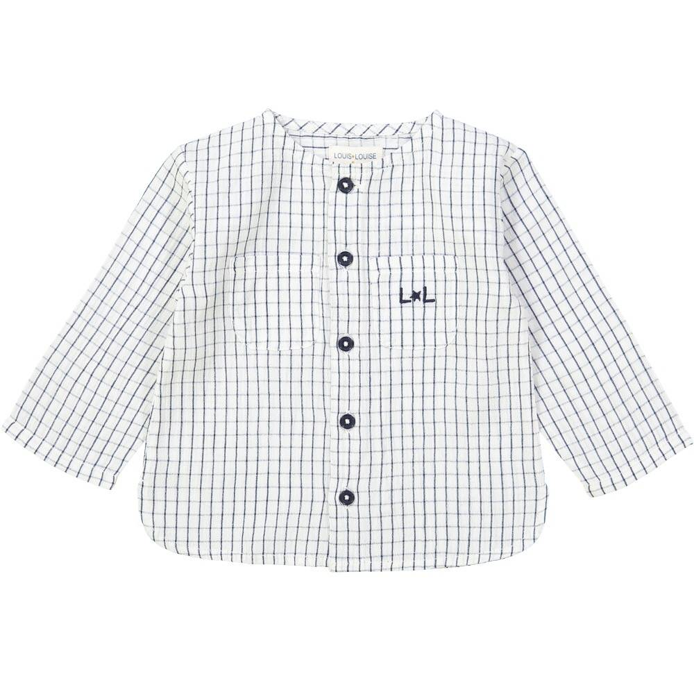 Baptise Shirt Check Navy Off White