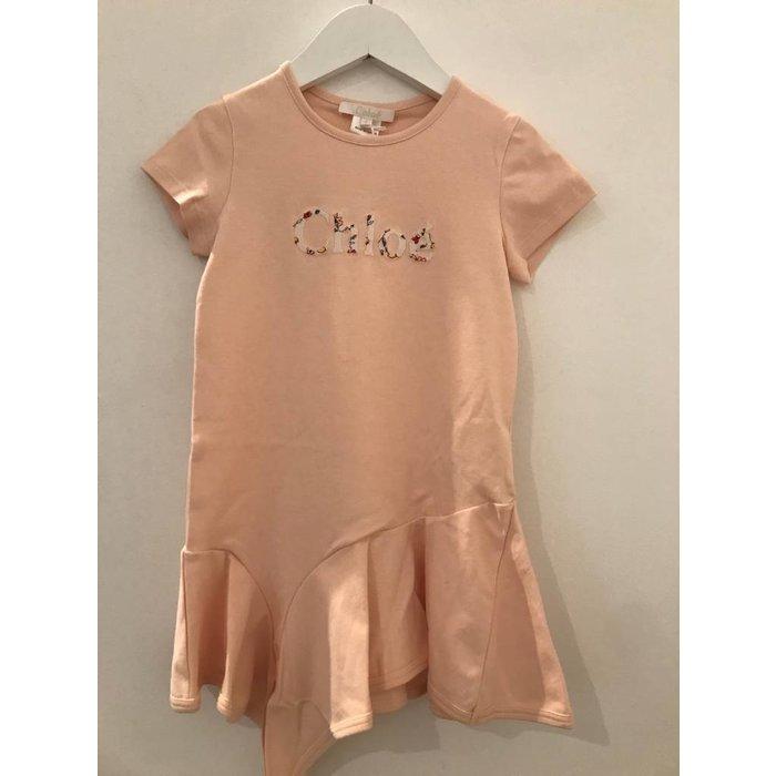 Asymetrical Dress w/ Floral Chloe Logo Pink Ice