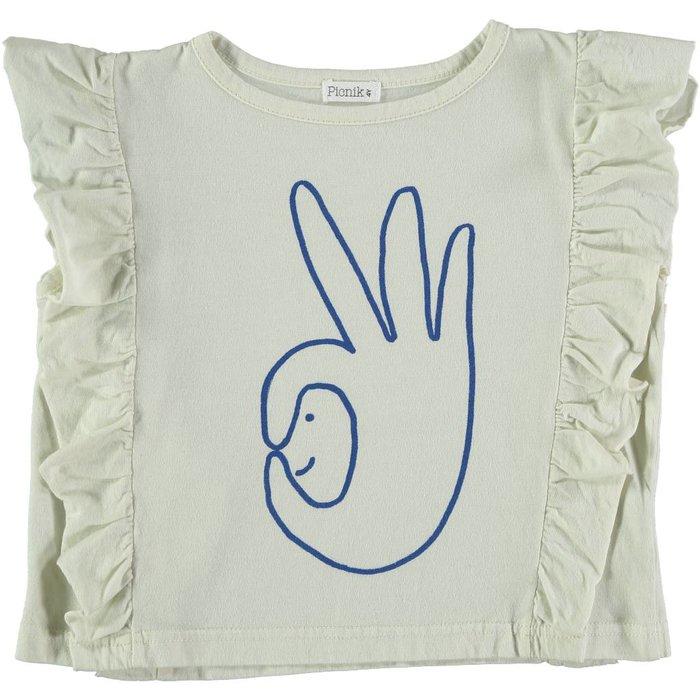 Tshirt White ruffle/Blue
