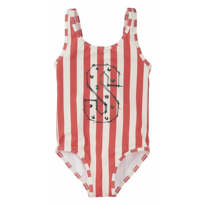 Swimsuit Stripe White & Red