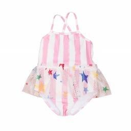 Pink Stripe Ruffle Swimsuit