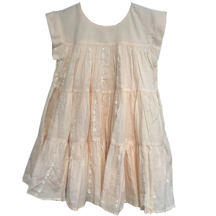 Kid Dress w/ Pearls and sequins Pink Ice