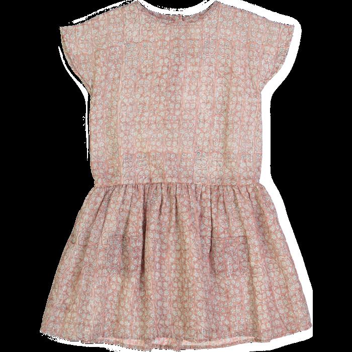Clotilde Dress Indian Flowers Stripes Pink