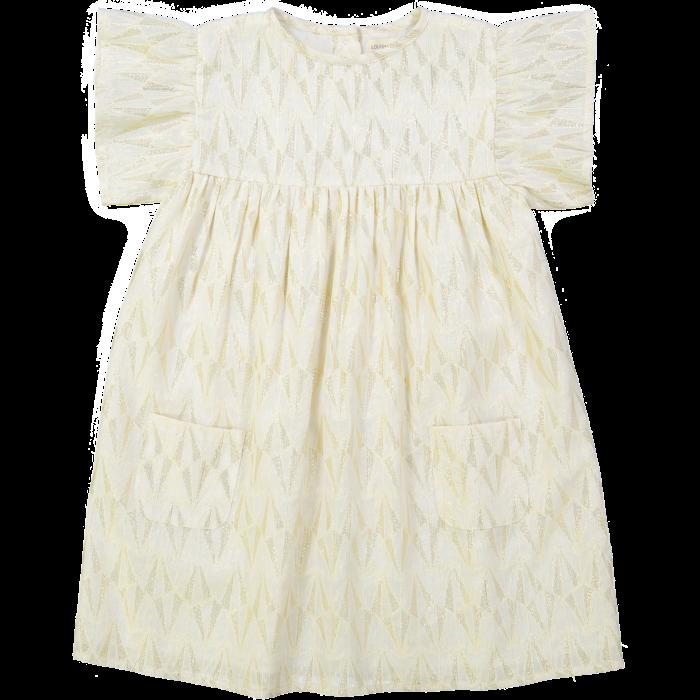 Ava Dress Gold Lurex Triangle Off White