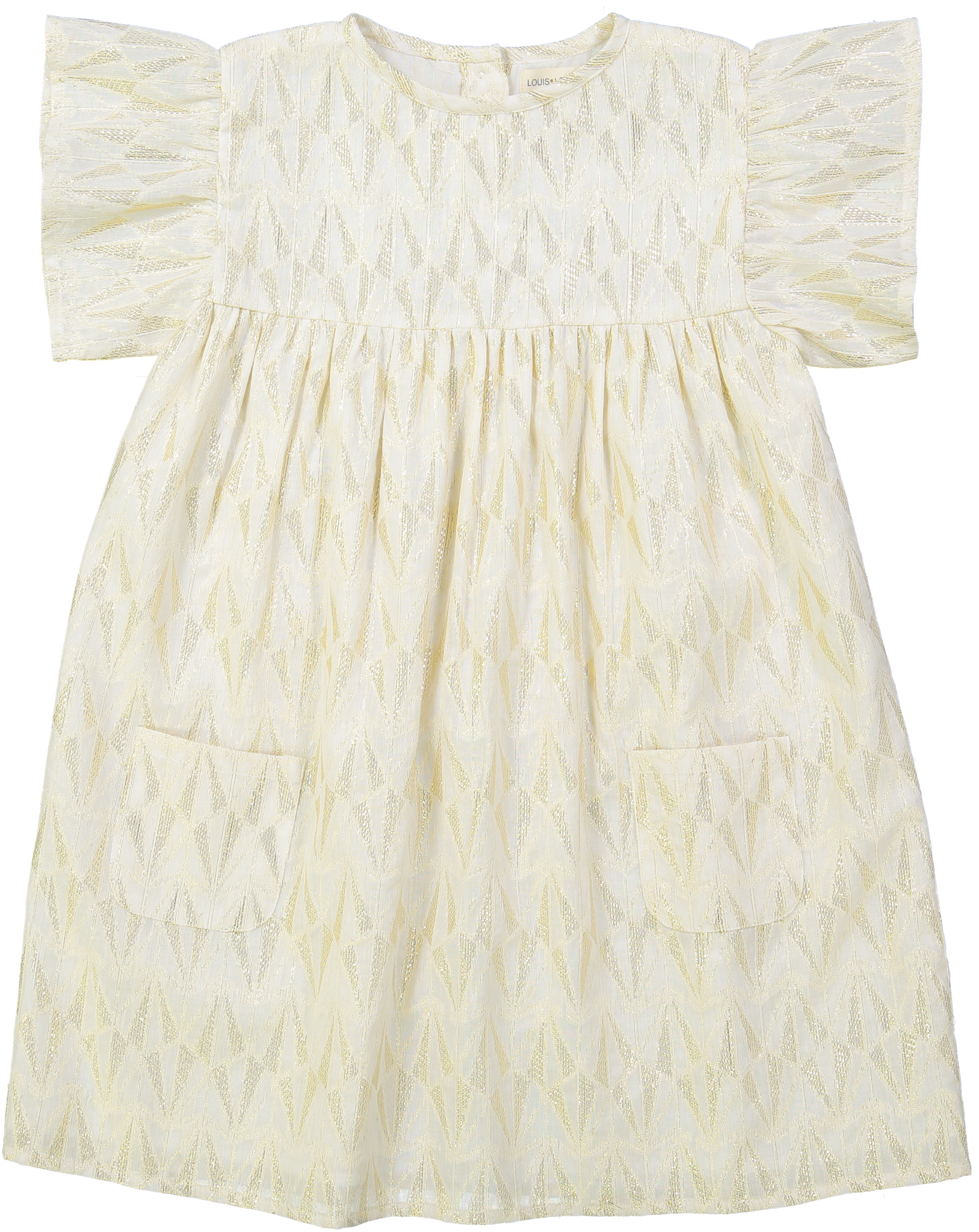 Ava Dress Gold Lurex Triangle Off White