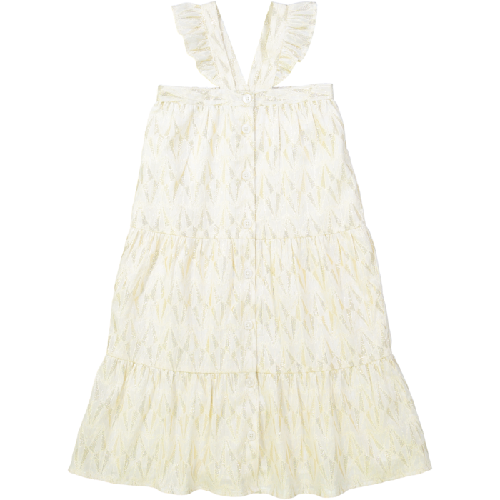 Chantilly Dress Gold Lurex Triangle Off White