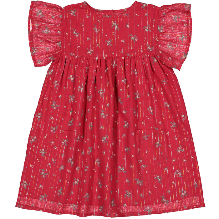 Ava Dress Romantic Flowers Stripes Red