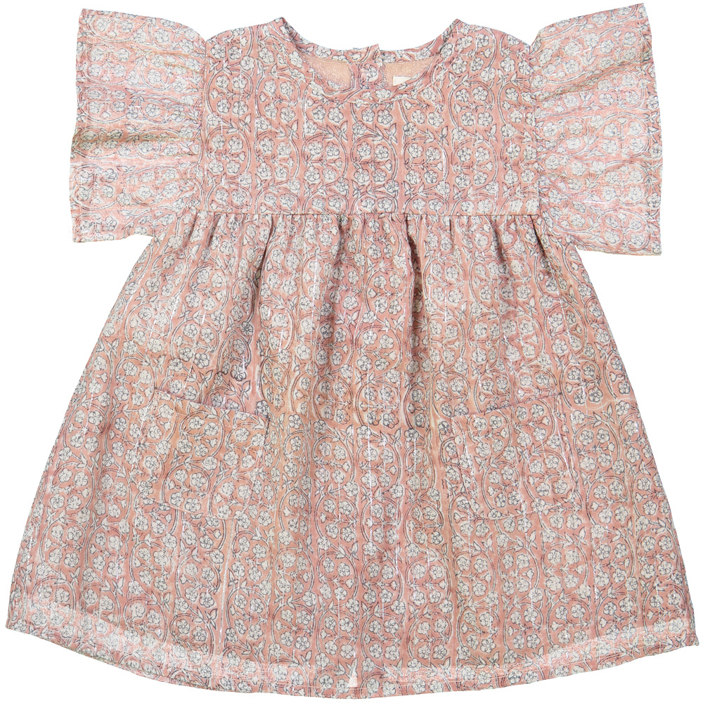 Ava Dress Indian Flowers Stripes Pink