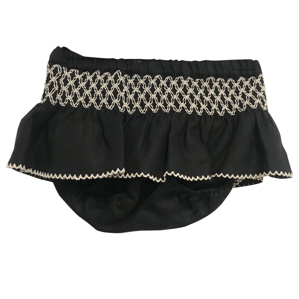 Linen Diaper Cover Black