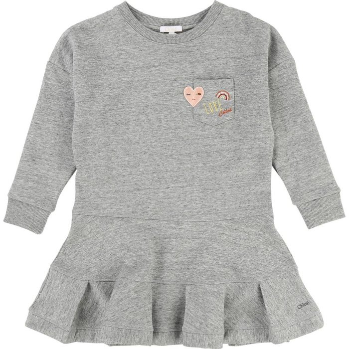 Fleece Dress w/ Pocket and Patches Gris Chine
