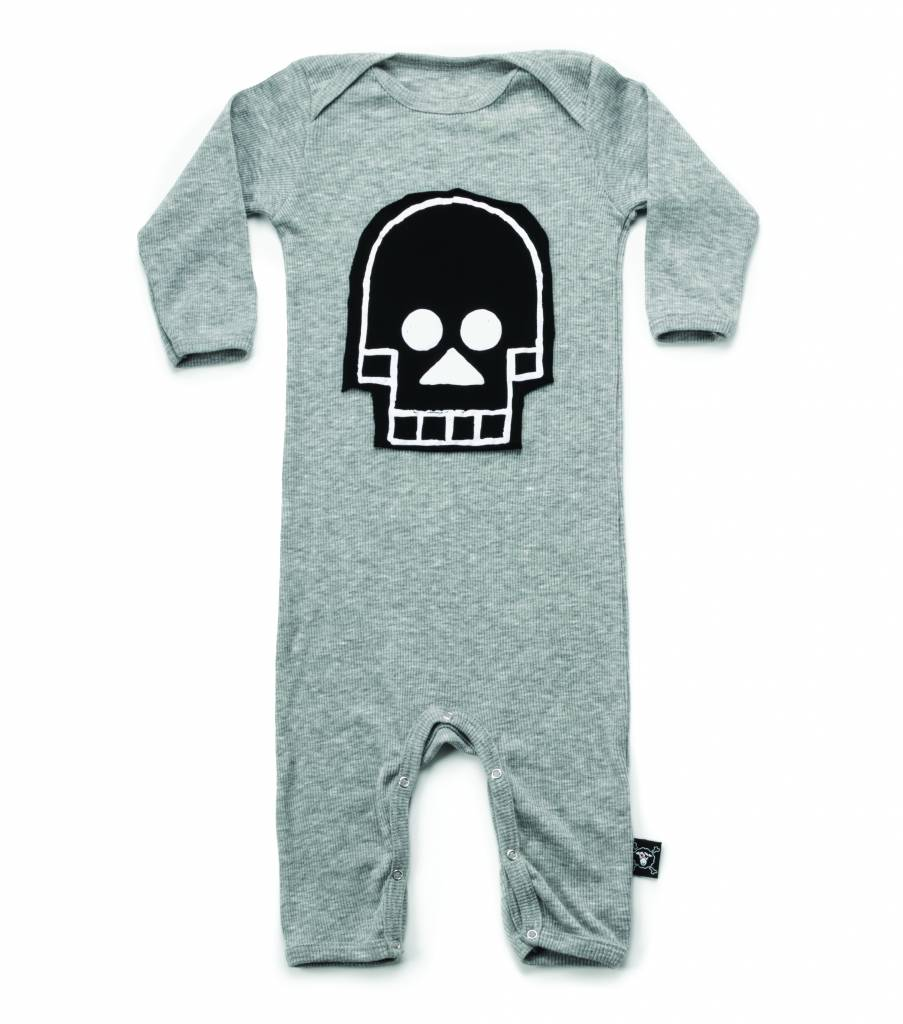 Skull Path Robot Playsuit Heather Grey