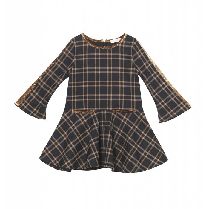 Plaid Bell Sleeve Dress Brown