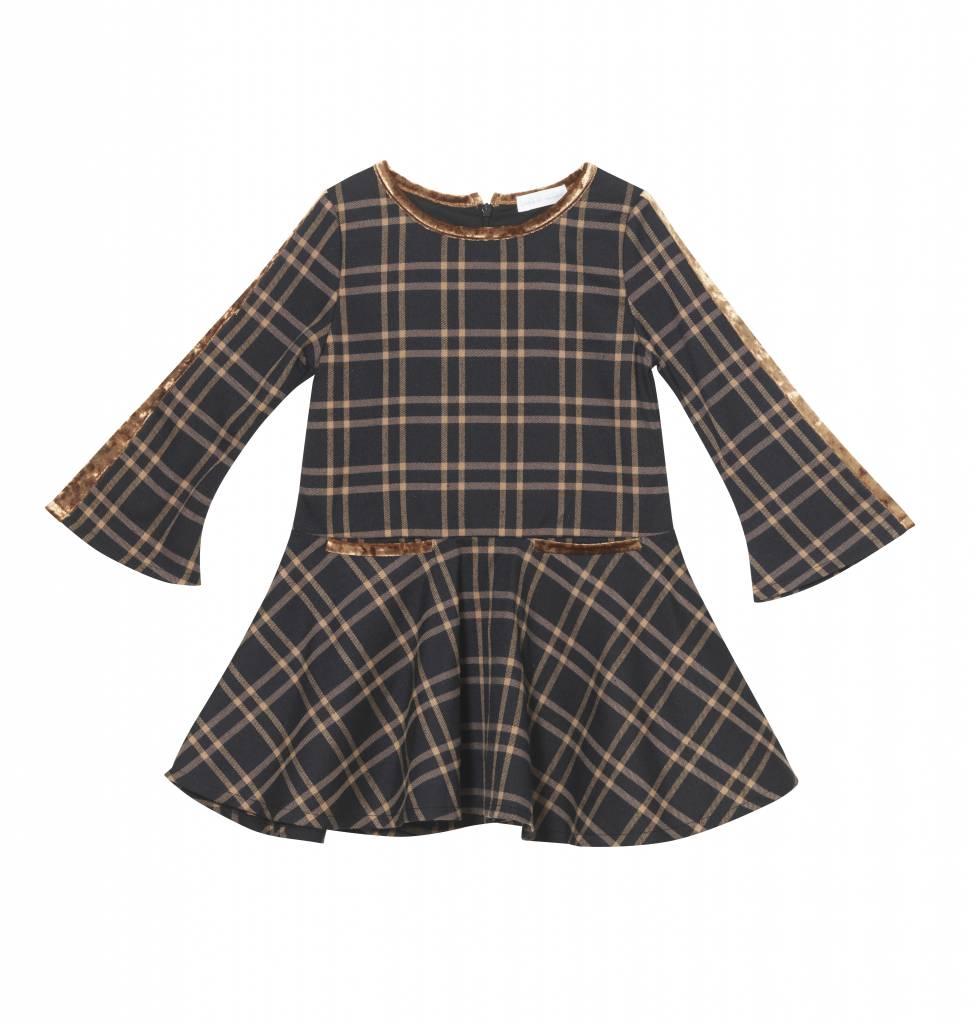 Plaid Bell Sleeve Dress Brown