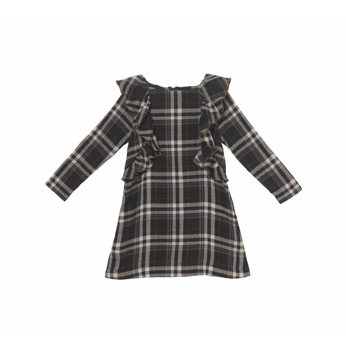 Plaid Ruffle Dress Charcoal