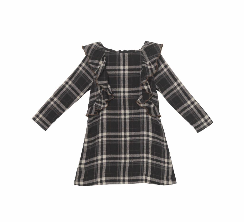 Plaid Ruffle Dress Charcoal