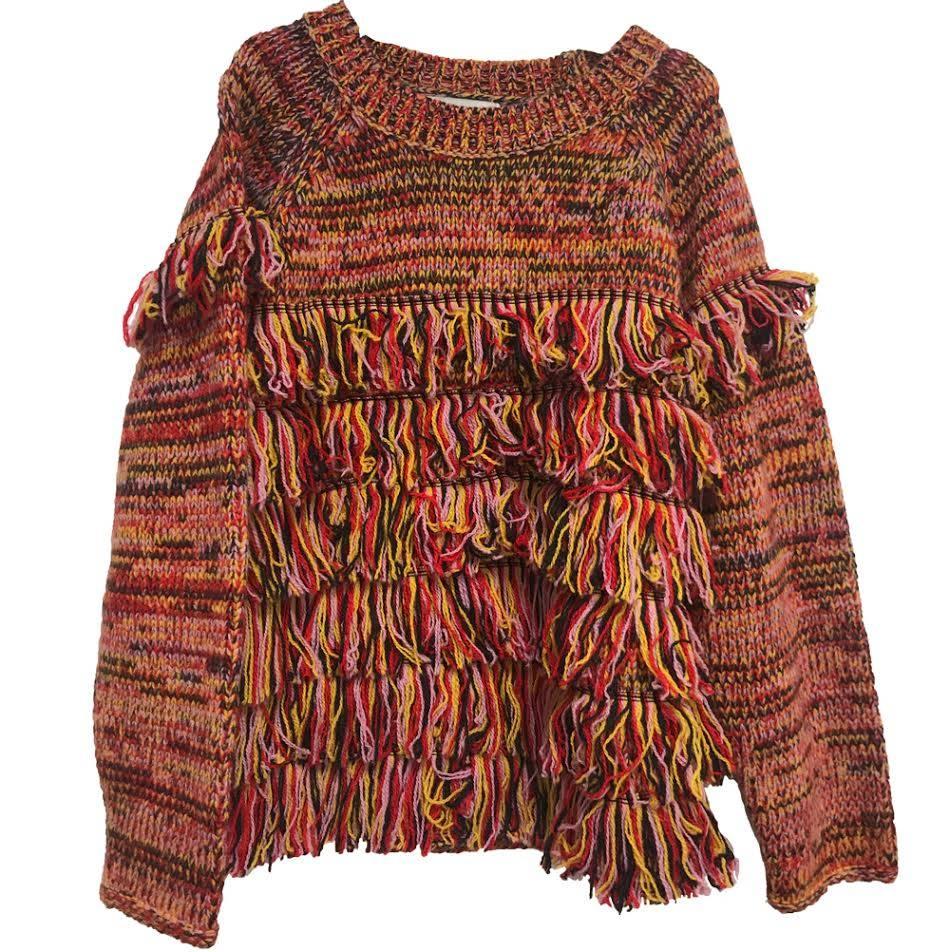 Tangerine Fringed Sweater
