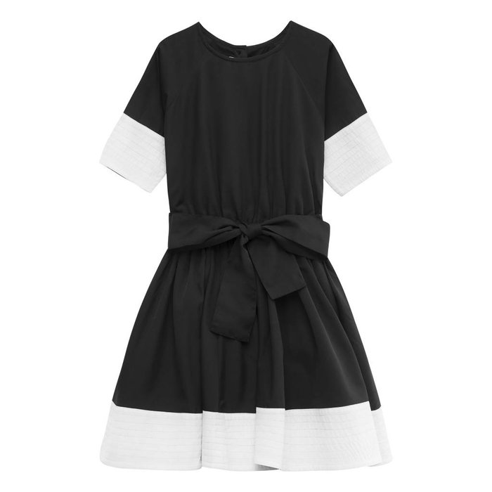 Siona Dress Black with off white stripes