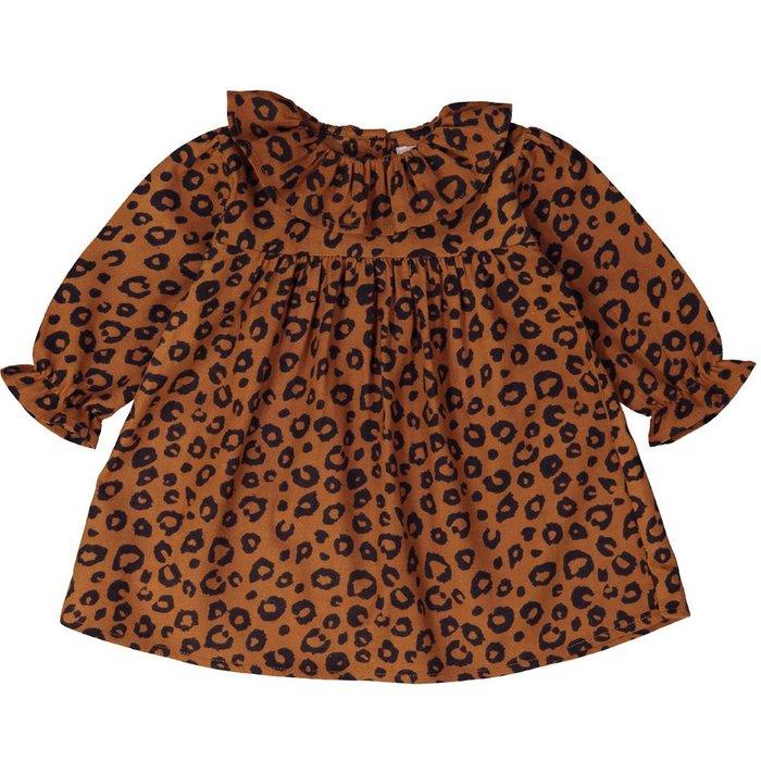 Helene Dress Twill Leopard Cognac
