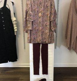 Mauve printed floral dress LD42519