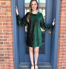 green velvet dress with gold stipes