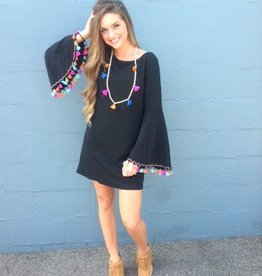 Judith March Black dress with colorful tassels 1154D