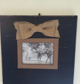 frame with burlap bow