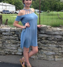 steel blue off shoulder criss cross bodice dress