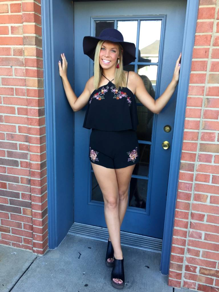 Black layered romper with embroidery