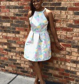 pastel brocade floral dress