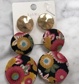 3 circle floral fabric earrings