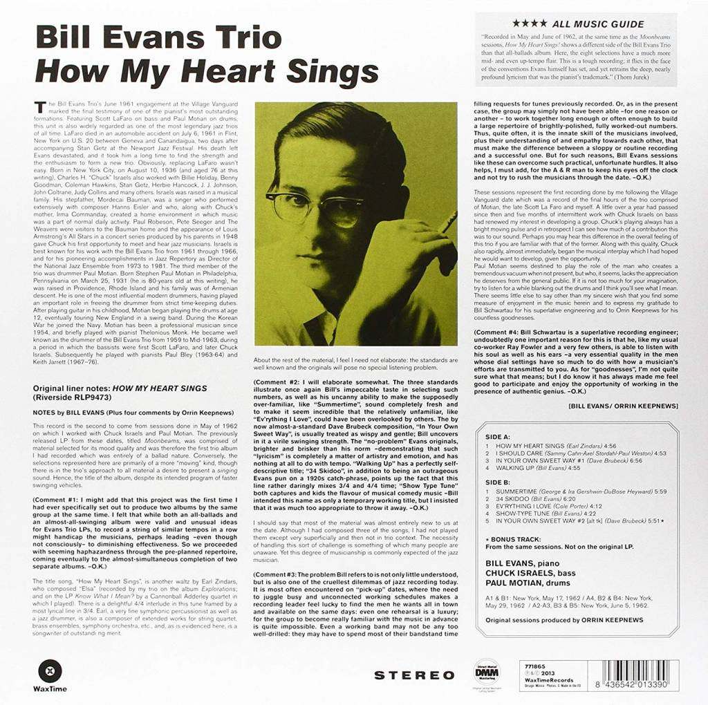 Bill Evans Trio ‎– How My Heart Sings