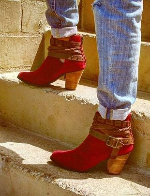 Red Cuthbert Suede Booties
