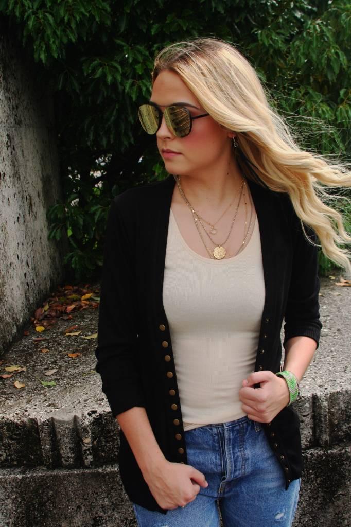 Button Snap Cardigan BLACK