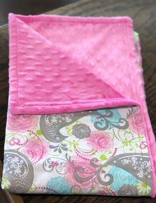 Paislee Baby Blanket w/ Pink MInkie