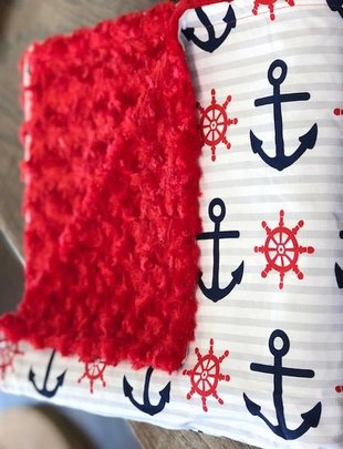 Large Red & Blue Anchor w/ Red Minkie Blanket
