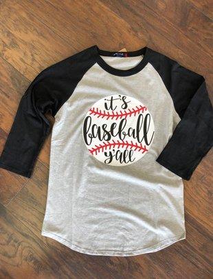 Back Road Beauties It's Baseball Y'all Gray/Black Baseball Tee