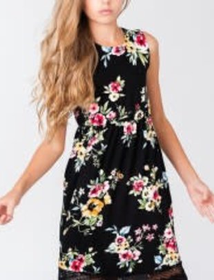 Girls Black Floral Knee Length Dress