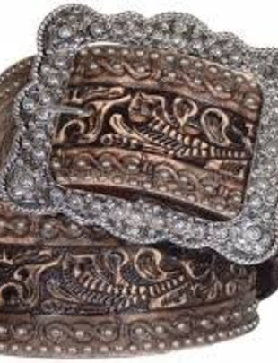"Double J Brown Floral Tooled 3"" Belt"