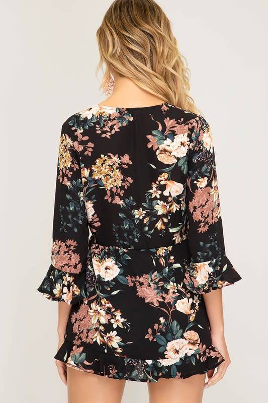 Wanna B Black Floral Ruffle Romper